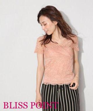 BLISS POINT【新品】カップ付き総レースシャツ