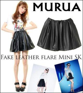MURUA☆フェイクレザーフレアミニスカート