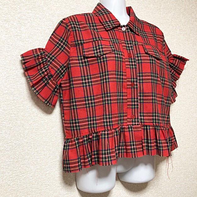 【新品/Drug honey】袖口&裾フリル付チェックシャツ
