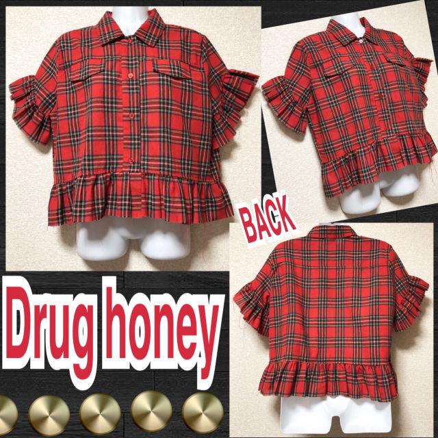 【新品/Drug honey】袖口&裾フリル付チェックシャツ(FUNKY FRUIT(ファンキーフルーツ) ) - フリマアプリ&サイトShoppies[ショッピーズ]