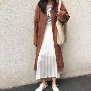 【XL/ブラウン】シャツコート ロングシャツワンピース 無地