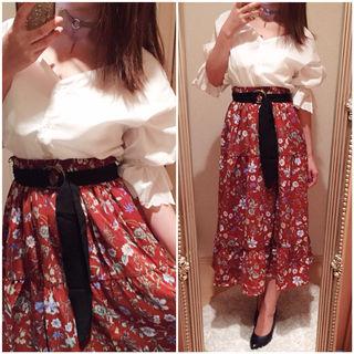 新品 コーデセット スキッパーシャツ 花柄ロングスカート