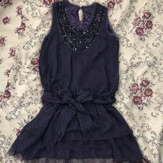 パープルドットミニドレス
