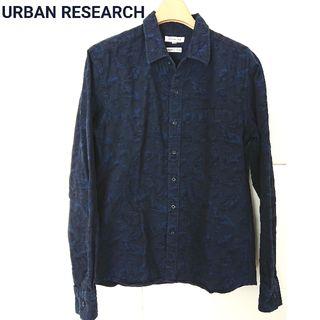 アーバン リサーチ 長袖 シャツ 刺繍 青 ネイビー 柄