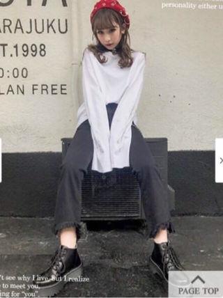 バブルス 裾フリンジデニムパンツ
