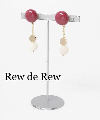 カラーパーツイヤリングwine redワインレッド
