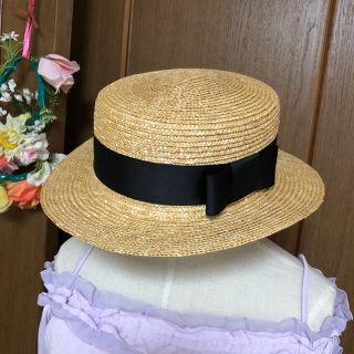 黒いリボンの麦わら帽子 カンカン帽