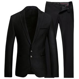 ビジネス上下セットスーツ ブラック
