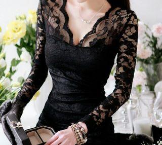 M~Lサイズあり 深V刺繍総レースブラックセクシーミニドレス