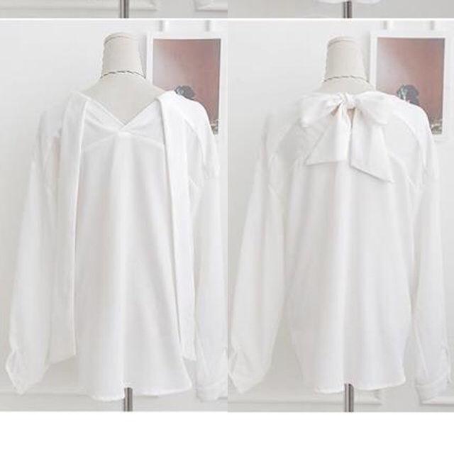 春に着たいバックリボン ブラウス シャツ Mサイズ
