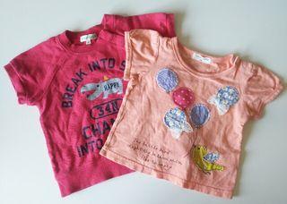 キッズ80㎝ ピンクTシャツ 2枚セット