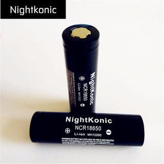 2個/ロット18650電池nightkonic(ブラック)