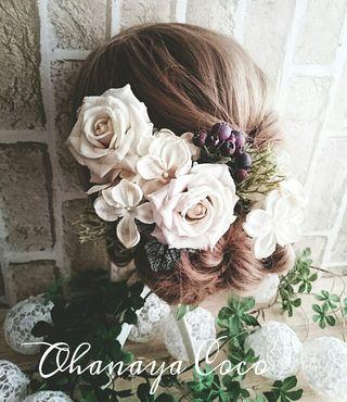 wedding~薔薇とベリーの髪飾り7点Set No192