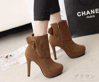 【40】24.5~25cm バックリボン付ブーツ
