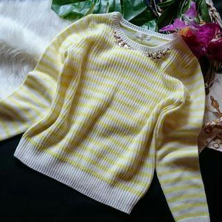 新品!indexビジュー×ボーダーニットセーター