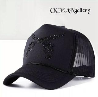 ブラック黒ブラックラインストーン 二丁拳銃キャップ帽子