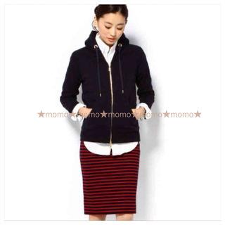 超美品ドゥーズィエムクラスボーダーポンチタイトスカート