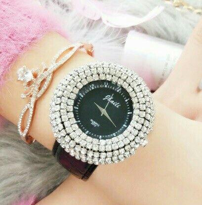ビッグフェイス 腕時計 レディース ラインストーン 黒