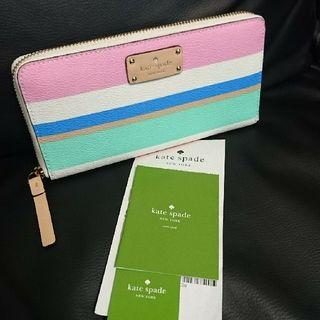新作 ケイトスペード 新品 新色のパステル ストライプ長財布