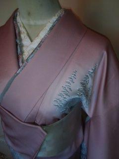 紫ピンク雪景色*付下正絹袷159美品レタP