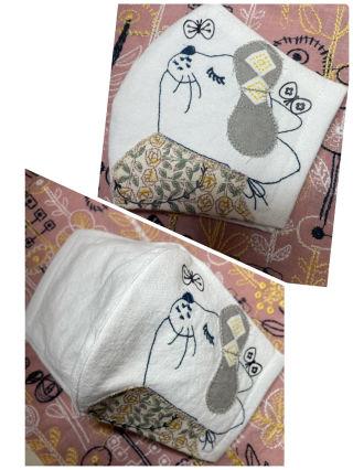 ミナペルホネン 手作り刺繍 インナーマスク