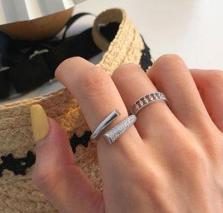 2個セット 指輪キラキラ シルバー 韓国 ペアリング