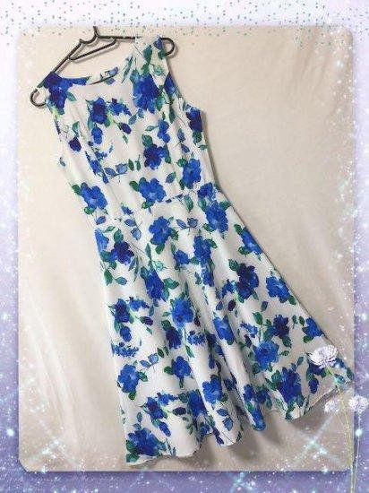 新品ベルト付き花柄綺麗ワンピース ホワイト XL