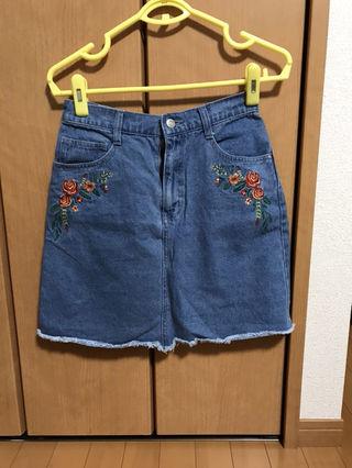 花柄 デニム 台形スカート