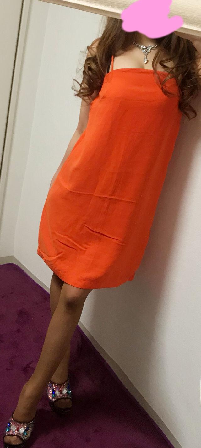 H&M オレンジ ミディアムドレスワンピ(H&M(エイチアンドエム) ) - フリマアプリ&サイトShoppies[ショッピーズ]