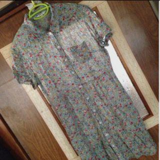 小花柄ロングシャツワンピース