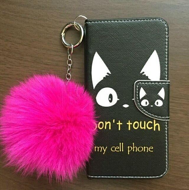 015be8a646 ファー付き 手帳型 iPhone7 ケース 猫 ブラック