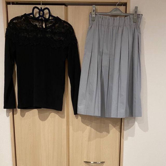 コーデセットデコルテレーストップス+ひざ丈スカート