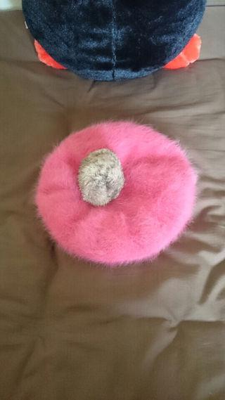 ふわふわ アンゴラニット ベレー帽 ピンク ポンポン付き