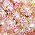 ネイルチップ つけ爪 ピンク  3D デコレーション 花
