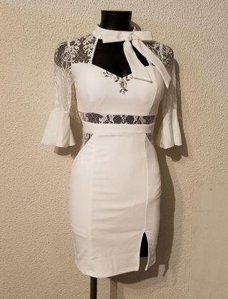 ネックリボンタイトミニドレス