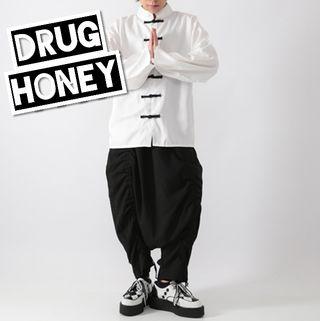 Drug honeyシャーリングサルエルパンツ/黒