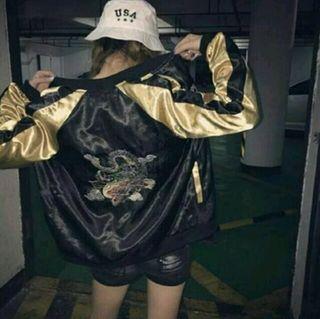 サイズL スカジャン 横須賀 龍 刺繍 ゴールド