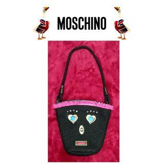 moschino モスキーノ 黒キャンバス ハンドバッグ