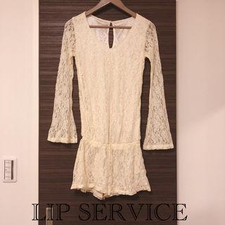【美品】LIP SERVICEレースロンパース white