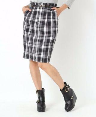 送料込ヘザーチェックタイトスカート ブラック/S 新品