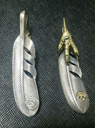 ゴローズ風 金爪メタル付きフェザー
