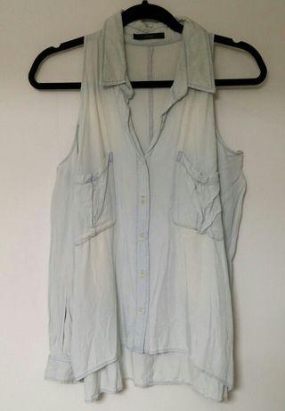 M~ALBUM オープンショルダー デニムカラーシャツ