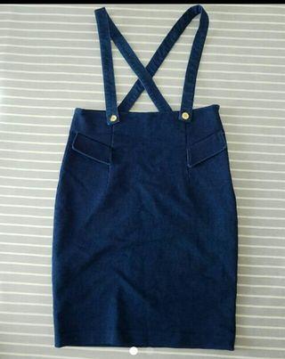 discoat デニムハイウエストサロペットスカート