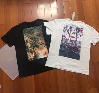 サイズL黒白2枚セットESSENTIALS花Tシャツ