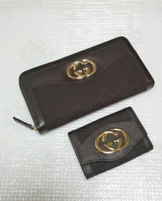GG金具ジッピー長財布とキーケースのセットブラック