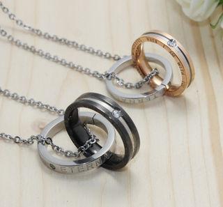 ペアネックレス ダブルリング ペアリング 指輪