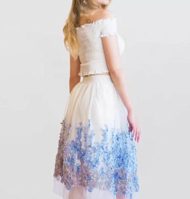 激安価格 花柄 ブルー スカート 送料無料 早い者勝ち