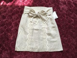ジャスグリッティー ウエストリボン 麻混 スカート 0