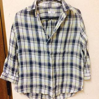 7部丈ギンガムチェックシャツ