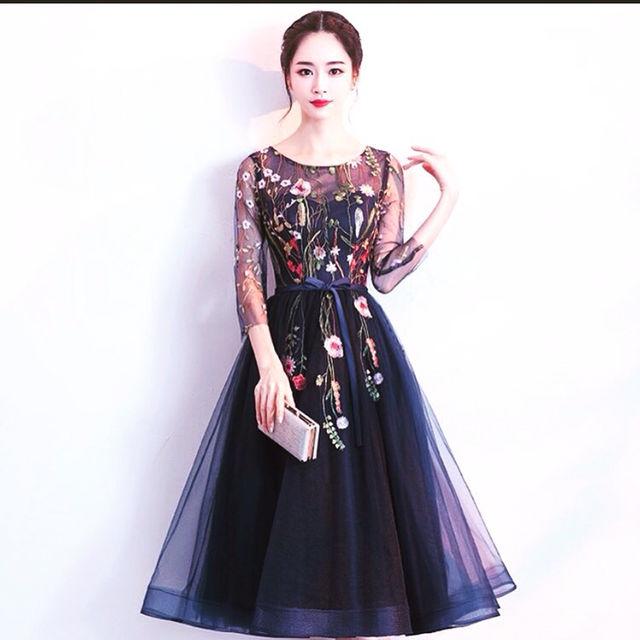 【新品】花柄 刺繍 ドレス